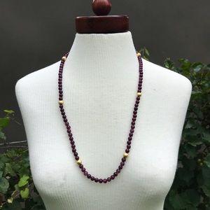 Long Garnet and Gold Necklace NWOT